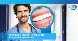 dottore con illustrazione focus bocca e impianto dentale