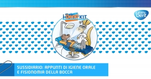 illustrazione fumetto paziente castoro sdraiato in poltrona e dentista canguro