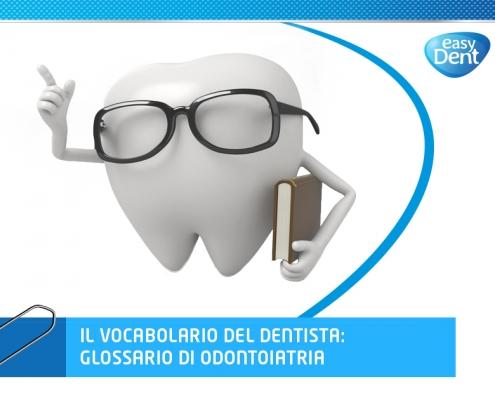 illustrazione dente con occhiali e vocabolario