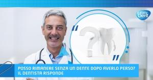 dottore dentista sorridente dente e punto di domanda