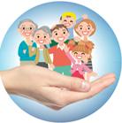 disegno a fumetti di una famiglia sorridente