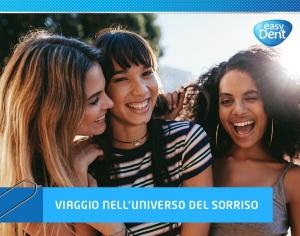 3 ragazze allegre e sorridenti con titolo dell'articolo e logo aziendale