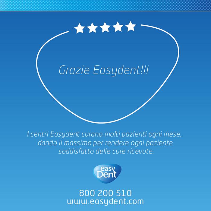 Grazie Easydent. I centri Easydent curano molti pazienti ogni mese, dando il massimo per rendere ogni paziente soddisfatto delle cure ricevute.
